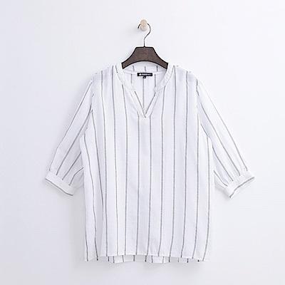 Hang Ten - 女裝 - V領七分蓬袖襯衫-白色