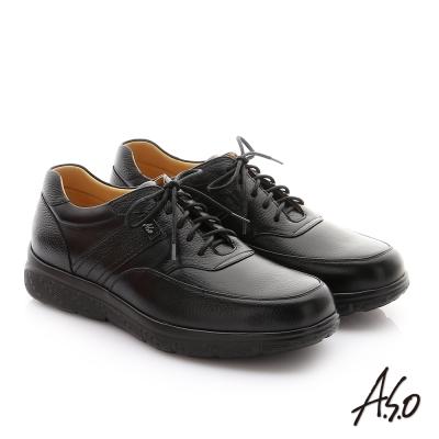 A.S.O  職場通勤 超能耐綁帶牛皮縫線紳士皮鞋 黑色