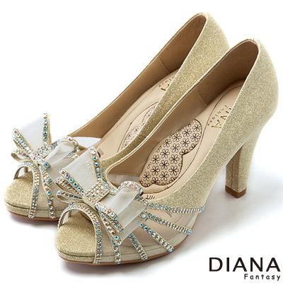 DIANA 超厚切LADY款--巴黎女伶蝴蝶結水鑽跟鞋-金