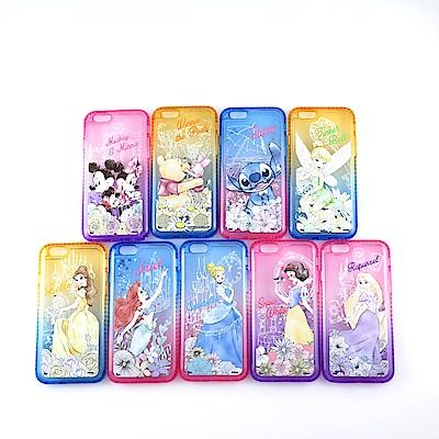 Disney迪士尼iPhone 6/6s Plus閃亮流沙水鑽漸層雙色保護殼套