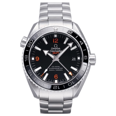 OMEGA 歐米茄 Planet Ocean 600米GMT鍊帶黑面橘字腕表-43.5mm