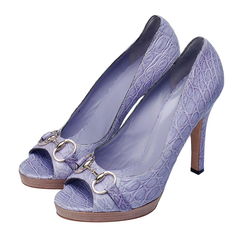 GUCCI 金屬馬銜銀釦鱷魚皮典雅高跟鞋(薰衣草紫-41.5)