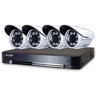 士林電機- 1080 P  4 路DVR套餐+ 4 支 1080 P  8 陣列紅外線槍型攝影機