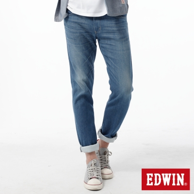 EDWIN 大尺碼窄直筒 EDGE COOL繡邊牛仔褲-男-石洗藍