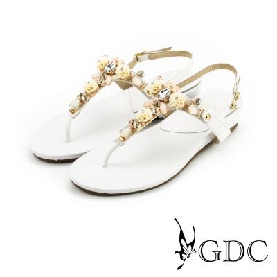 GDC-可愛小花水鑽造型真皮楔型厚底T字涼拖鞋-白色