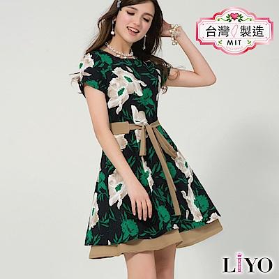 LIYO理優MIT印花雙層傘襬洋裝S-XL
