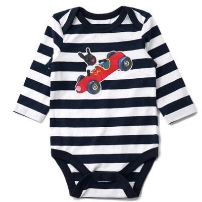 GL法國 優質萌系童趣黑白條紋長袖包屁衣連身衣