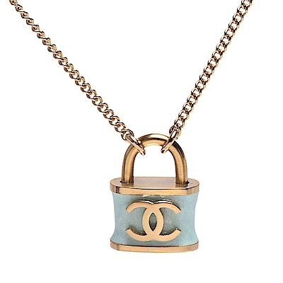 CHANEL 香奈兒經典雙C LOGO鎖頭造型墜飾項鍊(金)
