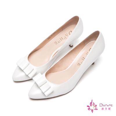達芙妮DAPHNE-唯美主義蝴蝶結鱷魚紋真皮高跟鞋