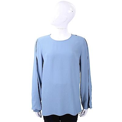 ELISABETTA FRANCHI 花苞袖水藍純色極簡雪紡上衣