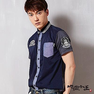 地藏小王 BLUE WAY 羅紋領撞色短袖襯衫-藍灰