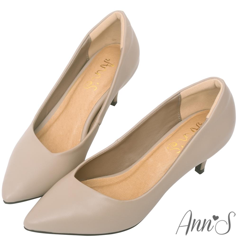 Ann'S漫步華爾滋-素色品味斜口低跟舒適尖頭鞋-杏