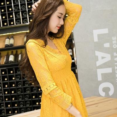 大尺碼-黃色蕾絲緹花V領長洋裝
