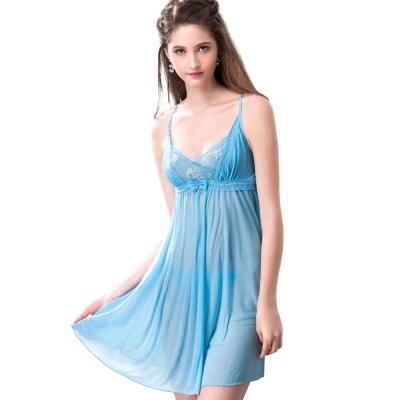 思薇爾 撩波系列連身蕾絲性感小夜衣(水瓶藍)