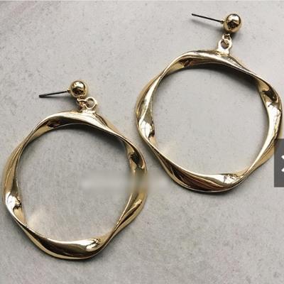 梨花HaNA韓朵極簡特別金屬紋路金屬圓片層疊雙層圓形耳環