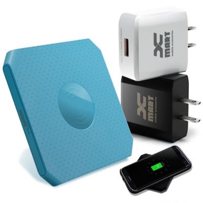 HANG 方塊餅乾支援 QC3.0/QC2.0 快速無線充電座+快速旅充-藍