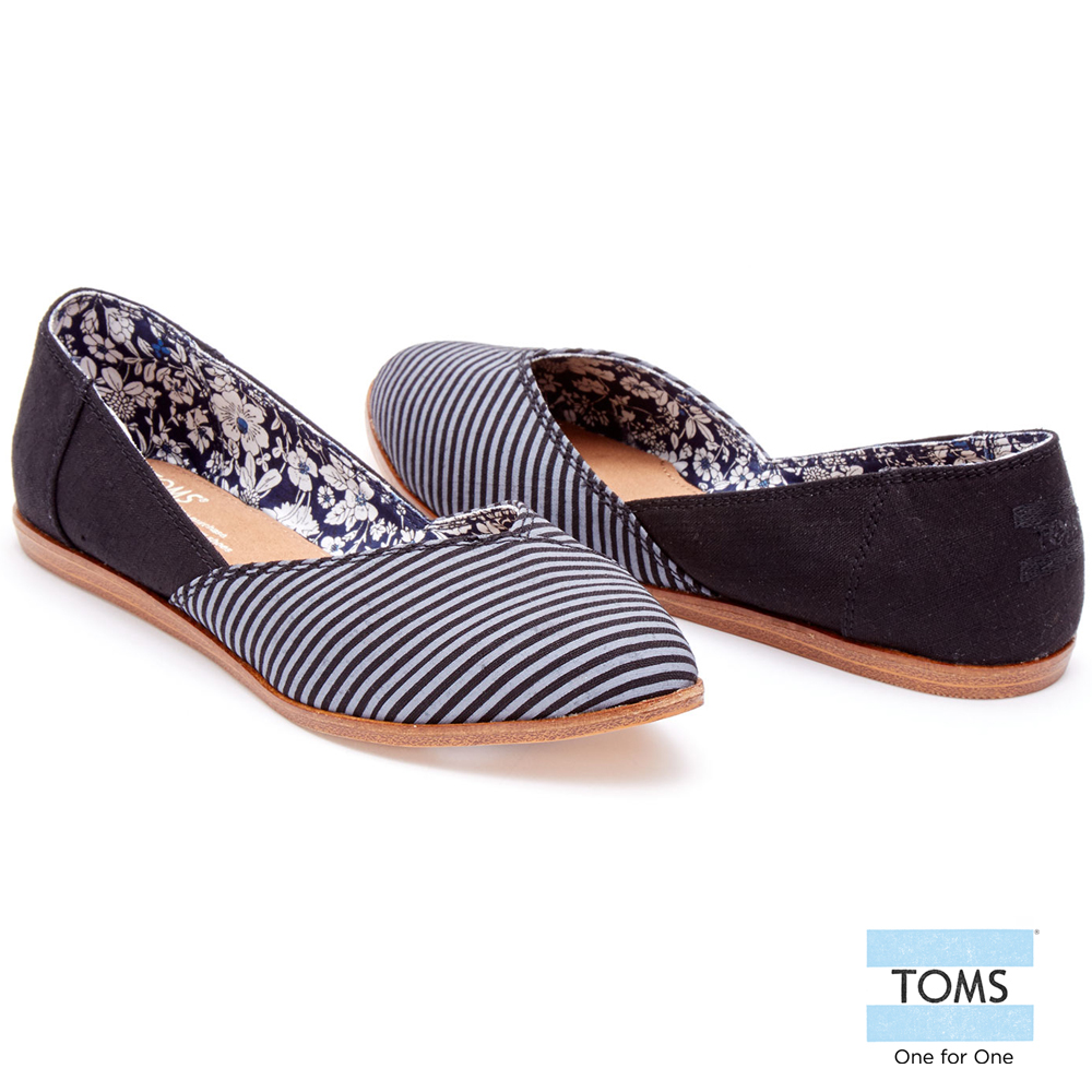 TOMS 條紋拼接平底尖頭鞋-女款(黑) @ Y!購物