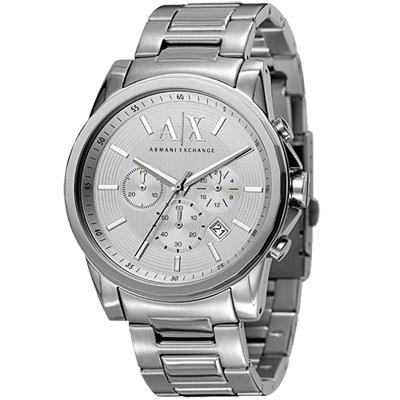 A│X Armani Exchange 運動風格計時腕錶-銀/45mm