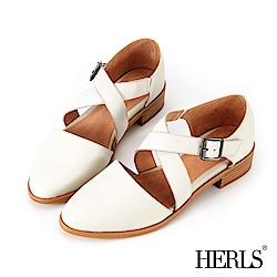 HERLS 輕恬優雅 全真皮交錯繫帶低跟鞋-白色