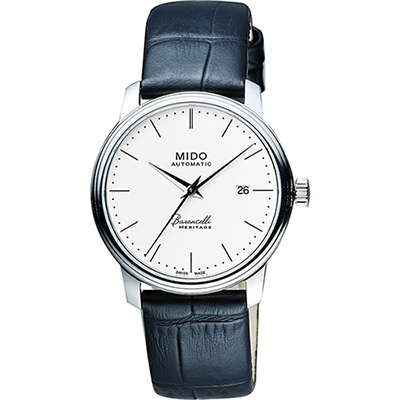 MIDO Baroncelli III Heritage 復刻機械腕錶-白x黑/32mm