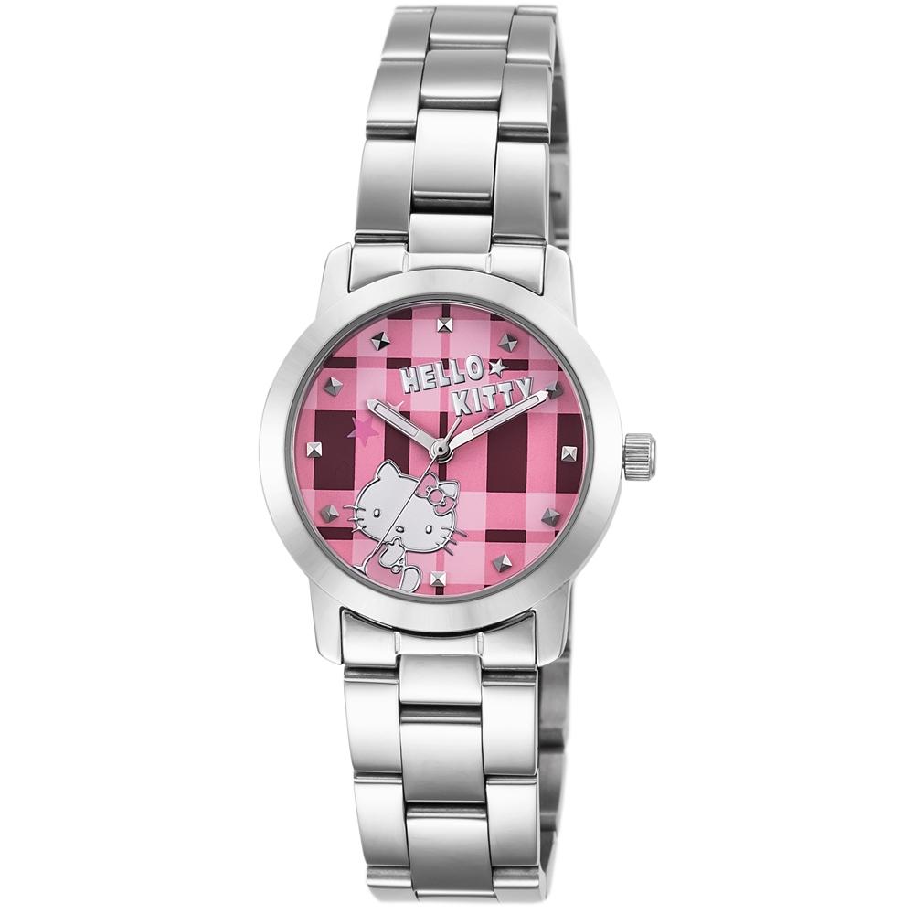 HELLO KITTY 凱蒂貓繽紛格紋造型手錶-粉紅x銀/30mm
