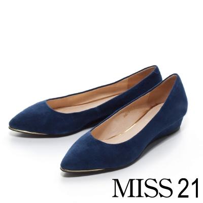 MISS-21-俏麗女郎-羊麂皮金屬尖頭低坡平底鞋-藍