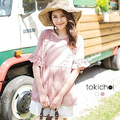 東京著衣 甜美蕾絲拼接腰身傘擺上衣-S.M(共二色)