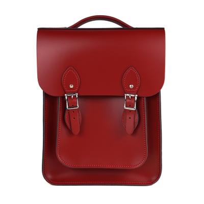 The Leather Satchel 英國原裝手工牛皮經典後揹包 手提包 心機紅