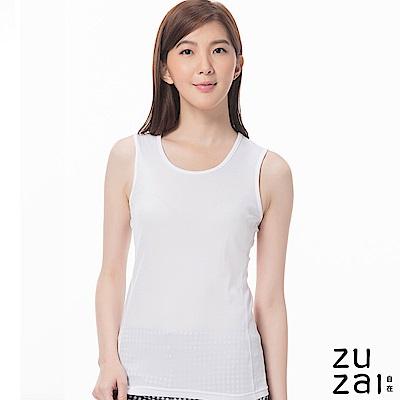zuzai 自在發熱衣歸真系列女無重力暖搭無袖衣-白色