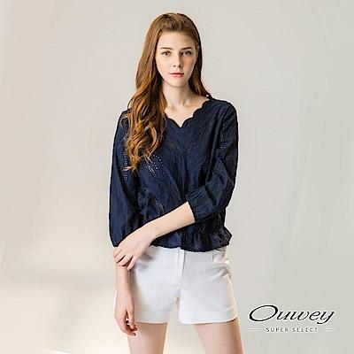 OUWEY歐薇 縷空織紋裝飾車線純棉上衣(藍)