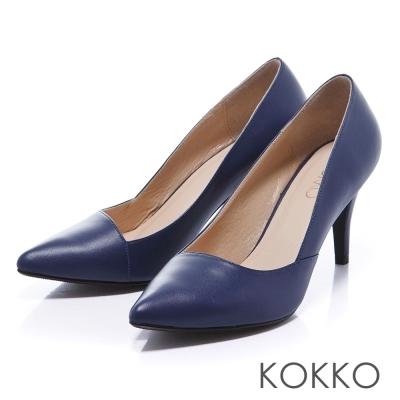 KOKKO經典再現 - 時髦尖頭斜切高跟鞋 -知性藍