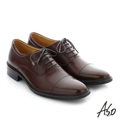 A.S.O 勁步雙核心 職場通勤真皮綁帶奈米紳士鞋 咖啡色