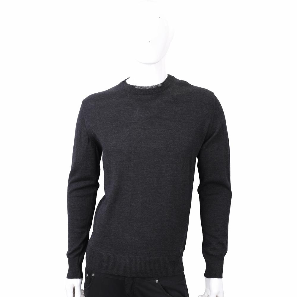 TRUSSARDI 混色領口細節深灰針織羊毛衫