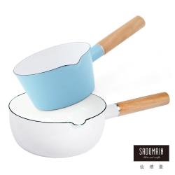 仙德曼 SADOMAIN 琺瑯牛奶鍋15cm-藍色+琺瑯雪平鍋18cm-白色