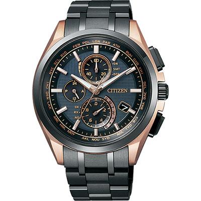 CITIZEN 鈦 光動能電波計時錶(AT8044-64E)-鍍黑x玫瑰金/43mm