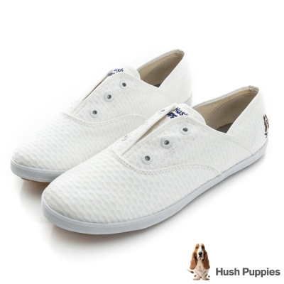 Hush Puppies 無印風波條咖啡紗懶人帆布鞋-白色