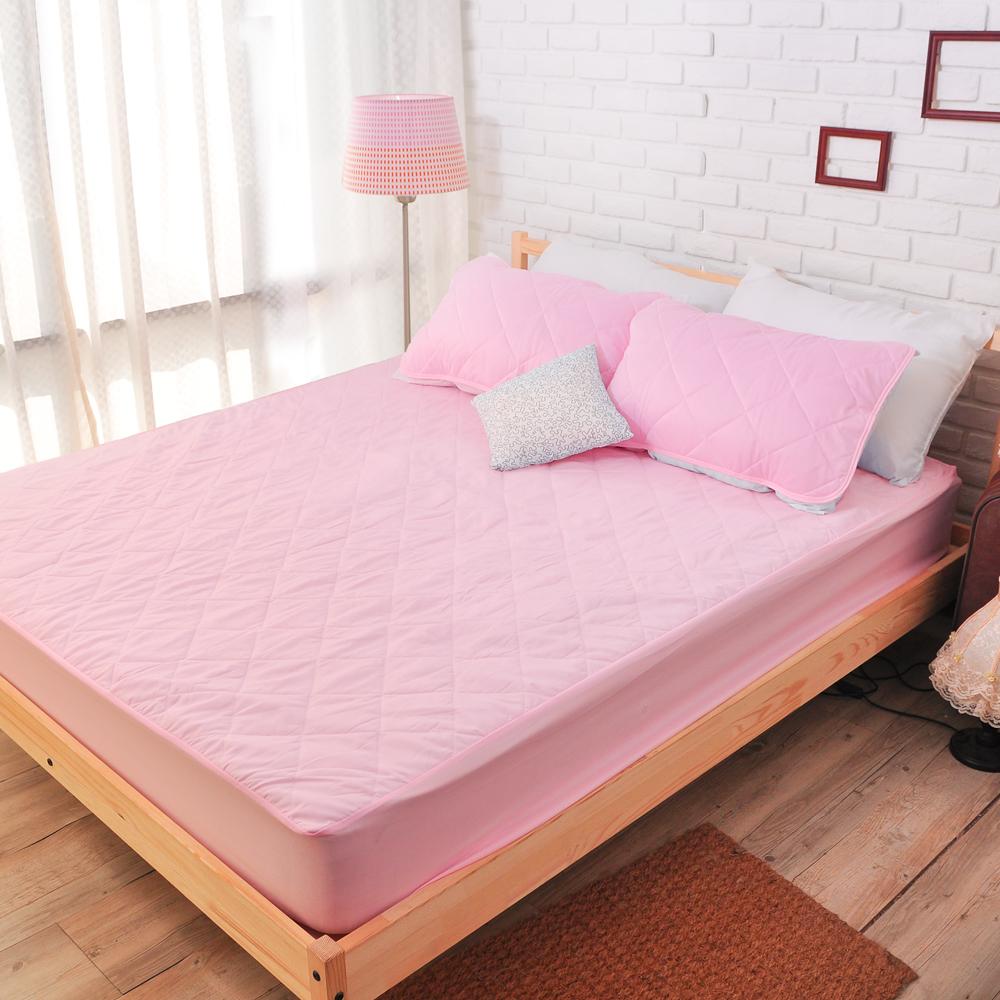 亞曼達Amanda 果漾色系100%防水床包式保潔墊-加大雙人(粉紅色)