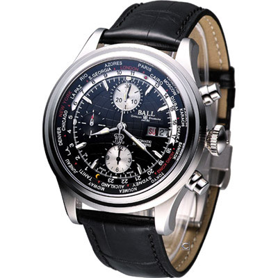 BALL Trainmaster 世界時間 計時機械錶-黑/43mm