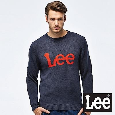 Lee LOGO毛衣-男款-深藍