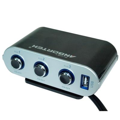 安伯特旋光按鈕式車用電源擴充座(三孔+1USB)