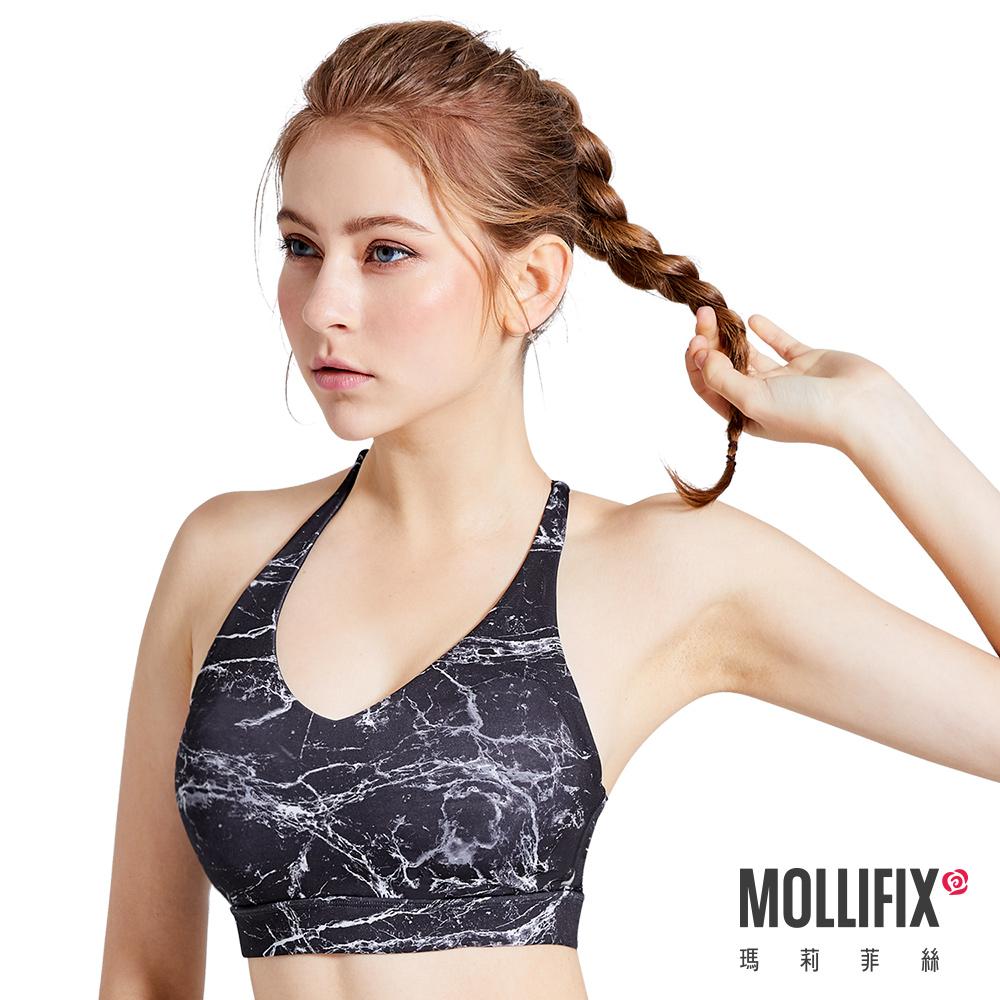 Mollifix 瑪莉菲絲 Active+小深V交叉平衡運動BRA  (石紋黑)