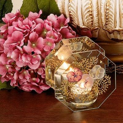 Madiggan鬱金香系列手工彩繪玻璃八角燭台(湛藍及紫紅任選)