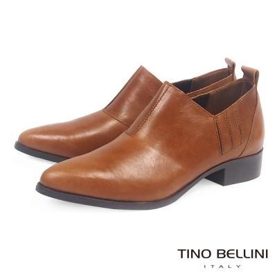 Tino-Bellini-義大利摩登雅痞女郎低跟皮鞋-棕