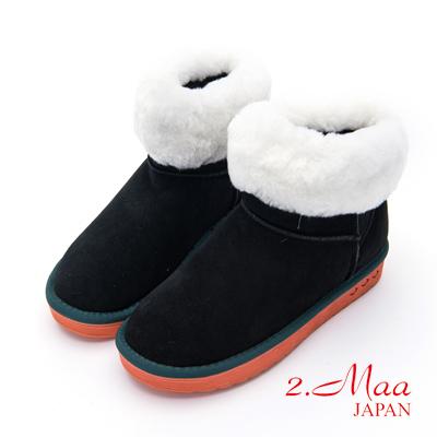 2.Maa-個性撞色牛麂皮反折暖暖雲朵雪靴-黑