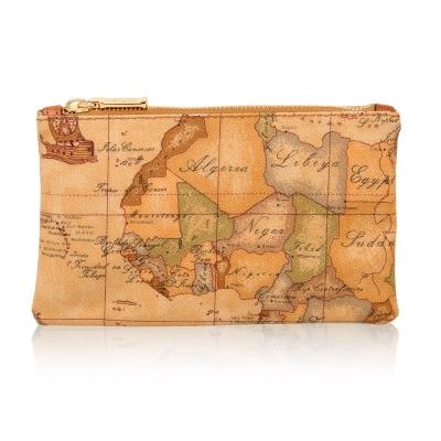 Alviero Martini 義大利地圖包 拉鍊手拿化妝收納包(小)-地圖黃
