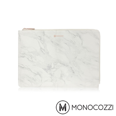 MONOCOZZI POSH MacBook Pro 13 吋專用皮革保護袋 - 大理石白