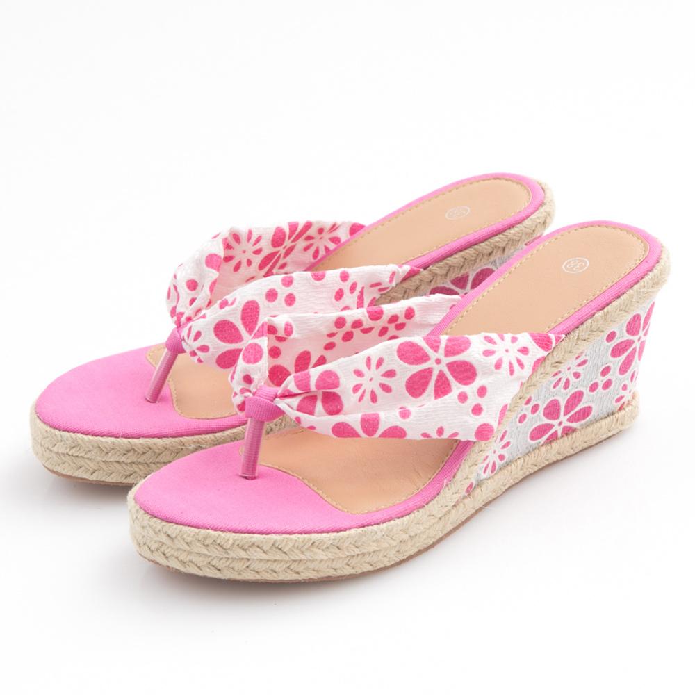 JMS-盛夏繽紛花漾楔型夾腳涼拖-桃紅色
