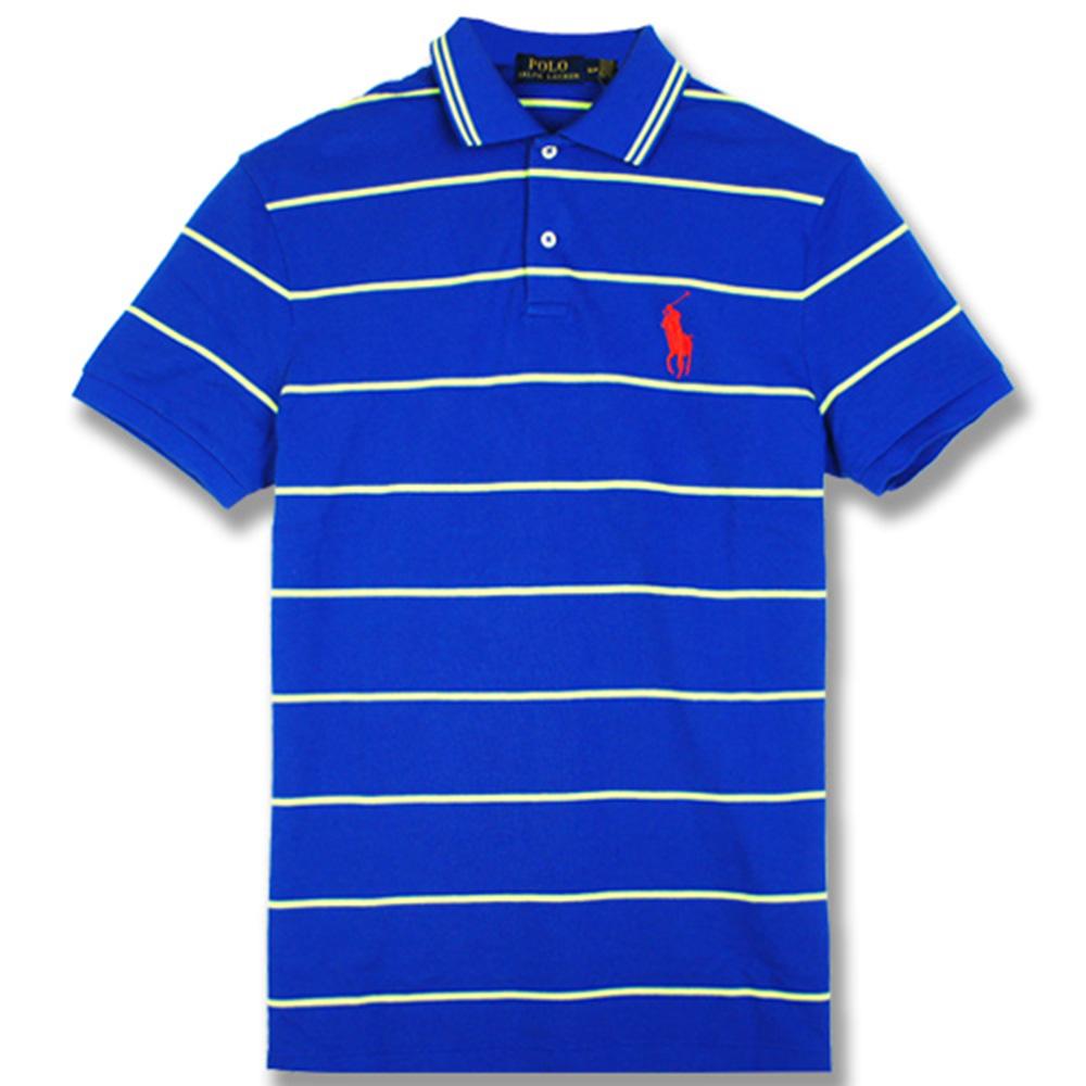 Ralph Lauren 中馬橫條紋POLO衫(寶藍)
