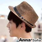 AnnaSofia 率性革帶 遮陽紳士帽爵士帽草帽(咖駝系)