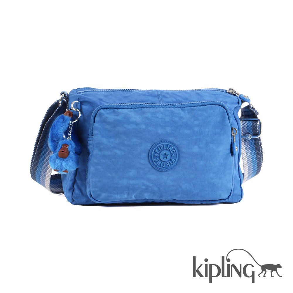 Kipling 斜背包 蔚藍素面-小
